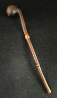 Antique African Zulu Knobkerrie Club, Carved Amber Center Piece.  20""