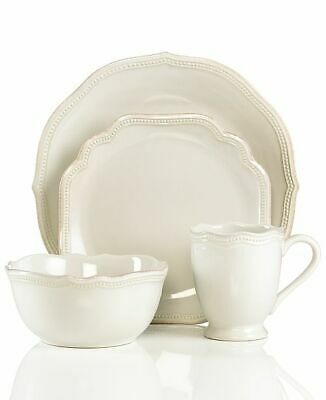 Lenox French Perle Bead 4-Piece Place Setting, White, NEW WITH TAGS