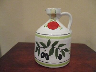 Zanetti Empty Olive Oil Ceramic Decanter Handcrafted/Handpainted in Italy