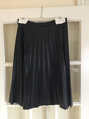 13bb0a1f55 JCREW $128 FAUX Leather Pleated Mini Skirt 00 Navy Blue c9160 NWOT ...