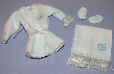Spa Getaway Silkstone Barbie Fashion Outfit Only - White Robe, Slippers, Towel