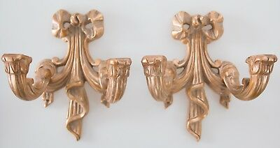 Pair of Mid Century French Gilt Wood Carved Ribbon Candle Wall Sconces