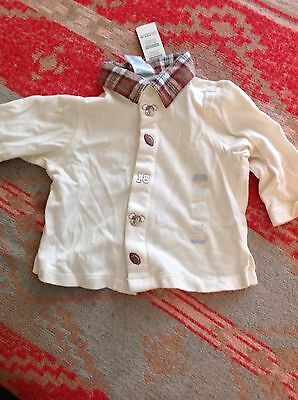 NWTs Childrens Place boys cream colored with plaid top 3-6 months