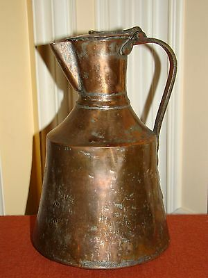 Antique Handmade Copper Arabic/Islamic Wine/Water Pitcher w/Brass Handle