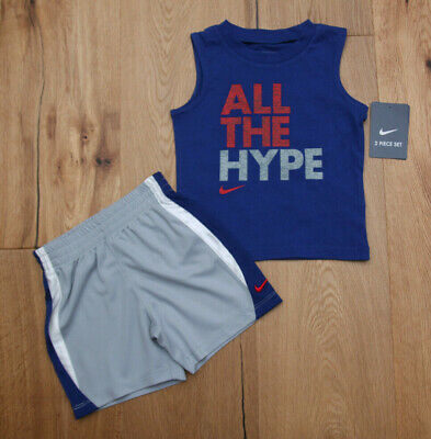 Nike Baby Boy 3 Piece Bodysuit Set ~ Blue Red White /& Gray ~Believe the Hype ~