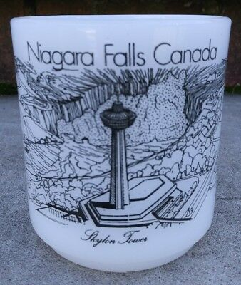 Vintage Glasbake Niagara Falls Canada White Milk Glass Coffee Mug Tea Cup