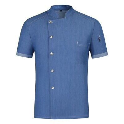 Blue Chef Jacket Classical Collar Waiters Chef Uniform Short Sleeve Chef Wearing