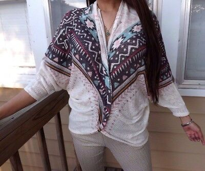 MOA MOA Open Front 3/4 Sleeve Knit Sweater Tribal Aztec Design White/Size:S