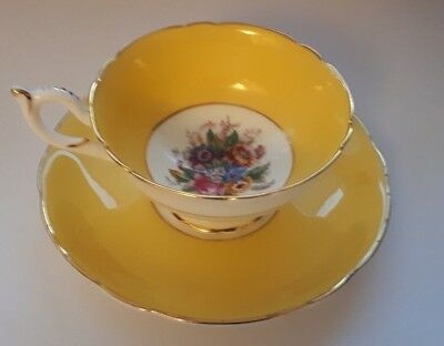 COALPORT CHINA TEA CUP & SAUCER YELLOW & FLORAL VINTAGE 1950's ENGLAND EXCELLENT