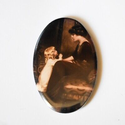 Antique Oval Pocket Mirror - Woman & Child - Victorian, Edwardian
