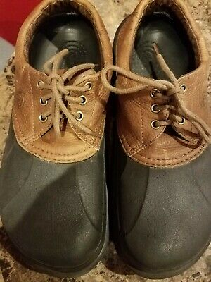 bf7e9f12fccd Crocs Mens Islander Boat Shoes Leather Sz 13 Lace Up Dark Brown Clogs