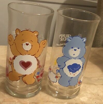 1983 Pizza Hut Limited Ed Vintage Care Bears Drinking Glasses Grumpy Tenderheart