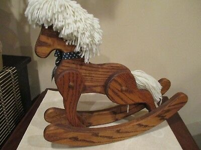 Vintage Wood Hand Carved Rocking Horse Toy, Collapsible Movable Legs, Folk Art
