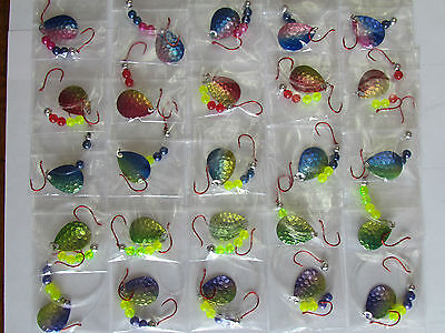 25 UV Hammered Spinner Rigs Colorado Blades Walleye Northern Bass # 3 Blades