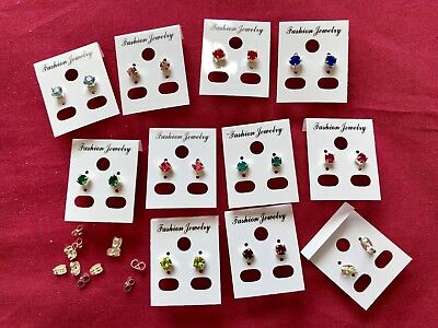 JOBLOT-10pairs of 0.5cm 8+ different colours diamante stud earrings.UK made.