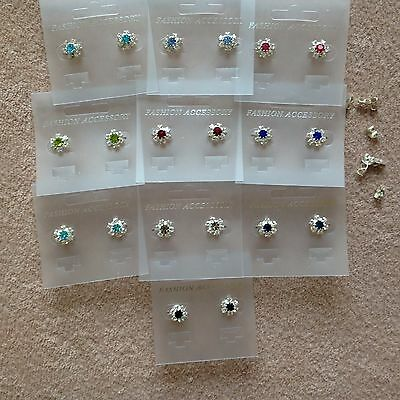 JOB LOT-10 pairs of crystal/colour diamante rosette stud earrings.UK handmade.