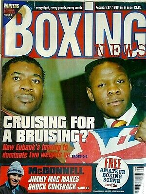 BOXING NEWS - 27 feb 1998 - eubank, mcdonnell, holyfield, lewis free p&p to uk
