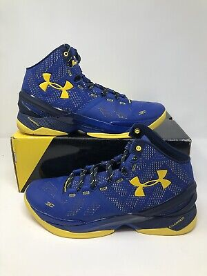 new styles ba360 b9c14 Under Armour Curry 2  Dub Nation  1259007 422 Blue Gold Size 12