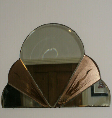 Art Deco Wall Mirror Vintage 30s Pink Peach Copper Cloud Frameless Bevelled