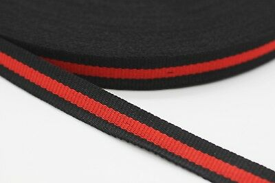 5 mt Gucci style, Red Black Striped Ribbon Trim, Double Faced Grosgrain, new