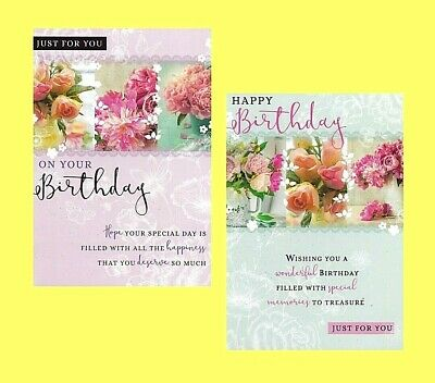 Open Female Traditional Birthday Card Flowers Floral Lady Woman