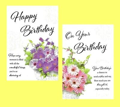 Open Female Traditional Birthday Card Butterfly Floral Lady Woman