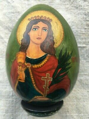 Antique icon 19th century 100% original, Easter egg Pisanka Saint Barbara