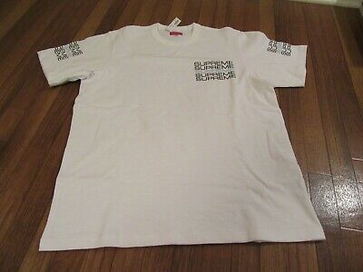 Supreme Stacked Logo Tee T-Shirt Size Large White SS19 SS19KN67 Brand New DS