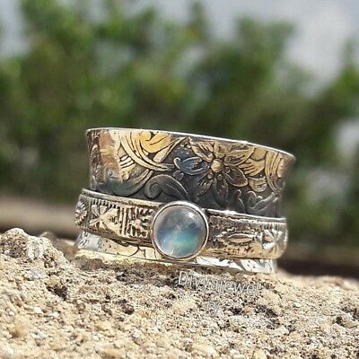 Rainbow Moonstone Solid 925 Sterling Silver statement,Spinner Ring Size sr.010