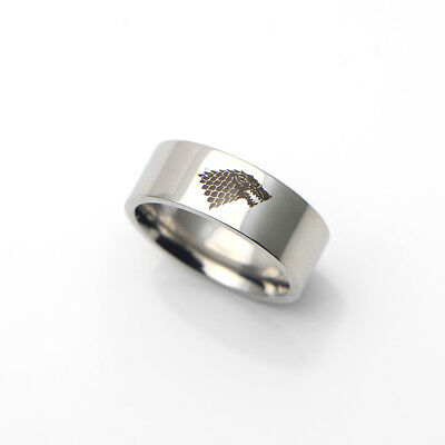 Game of Thrones Viking Ring Stark Wolf Head Winterfell Silver Stainless Steel