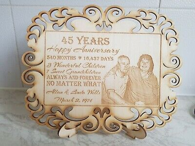 Custom Personalised Engraved Photo On Wood - Memorial Aniversary Wedding Gift