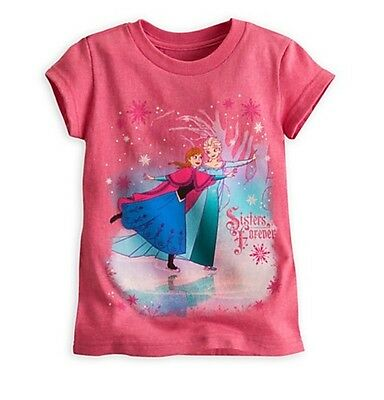 Disney Store Elsa & Anna Sisters Frozen Pink Princess Shirt Girls sz 7/8 Medium