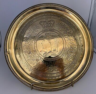 Victorian Jubilee Engraved Brass Drinks Tray circa 1887
