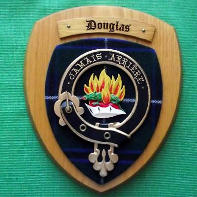 Vintage Old Scottish Carved Oak Clan Douglas Tartan Plaque Crest Shield