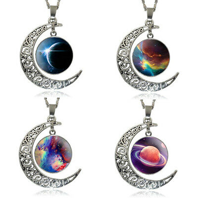 Moon Nebula Galaxy Space Planet Astronomy Necklace Glass Pendant Star Crescent