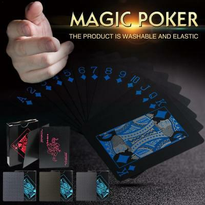 UK Waterproof Deck of Plastic Playing Cards Collection Black Diamond Poker Game