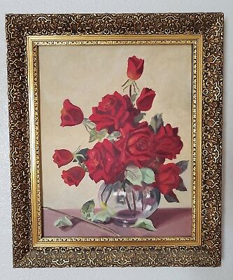 Red Roses Glass Vase 16 X 20 Oil Painting Gold Gilt Frame Signed Vivian Texas A+