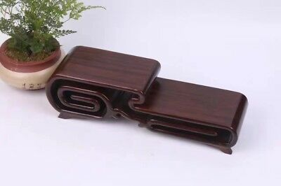 "11"" bonsai base black hard wood Chinese ebony high-low wooden stand display"