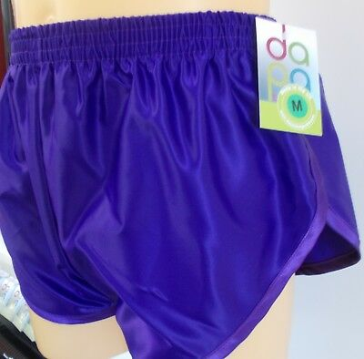 Retro Nylon Satin Sprinter Shorts S zu 4XL, Einfarbig Violett
