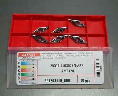 6pcs - Arno -carbure Inserts- Vcgt 110302fn-asf Am5120, avec Facture