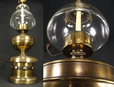 Vintage Brass Mid Century NAUTICAL Glass orb Table Lamp globe old oil ODDITY