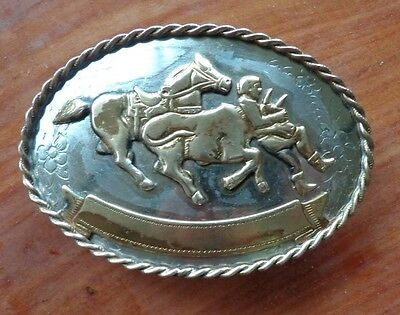 Vintage~Marked-German Silver~Western~Rodeo~Calf Roping Belt Buckle