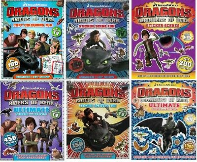 NEW x 6 DRAGONS Riders of Berk Colouring Sticker Scenes HOW to TRAIN A DRAGON