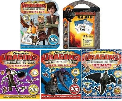 NEW x 5 DRAGONS Defenders of Berk Colouring Sticker Scenes HOW to TRAIN A DRAGON