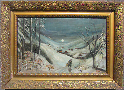 Well painted 19th century circa 1880 snow landscape oil illegibly signed