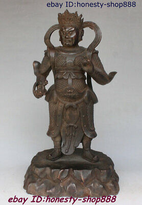 Collect Old Chinese Purple Bronze King Immortal God Chief Marshal General Statue