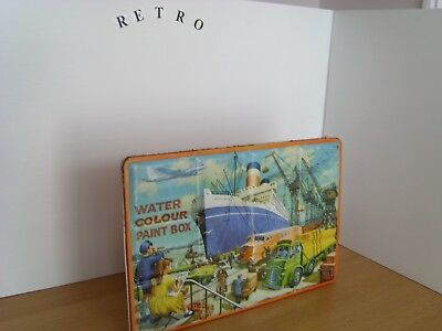 1950S Retro Vintage Tinplate Painting Set Box.dinky,Corgi Era.