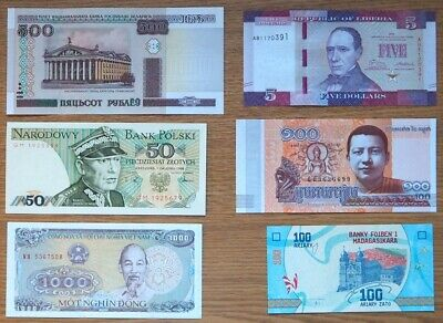 Collection Of Six All Uncirculated Mixed World Banknotes Six Different Countries