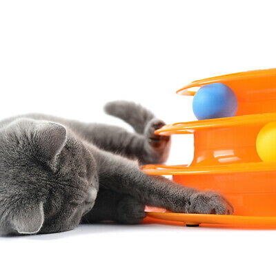 Household Pet Cat Kitten Interactive Crazy Ball Disk Amusement Game Toy Tower