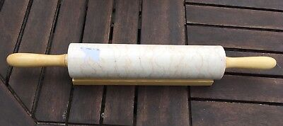 Marble Baking Pastry Roller Rolling Pin Revolving Wooden Handles with  Stand new